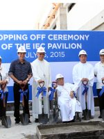 IEC Committee with Contractor Duros Land Top off IEC Pavilion