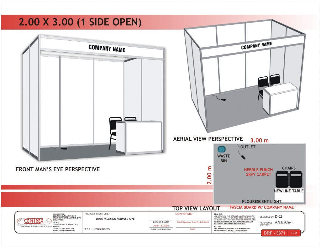 sample of Booth space 2x3_1 side open